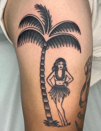 old school palm and woman tattoo, φοινικας γυναικα αθηνα