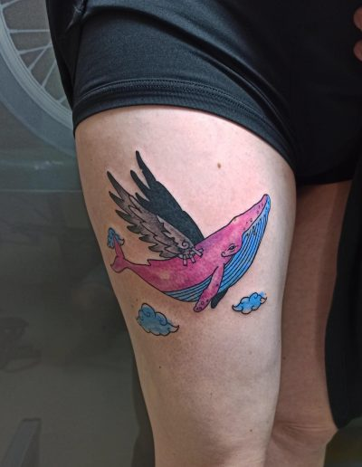 color custom whale tattoo with wings φαλαινα με φτερα τατουαζ αθηνα